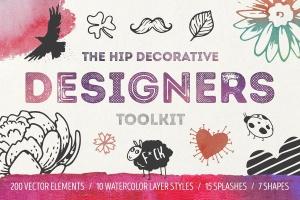 手绘装饰设计元素工具包[手绘图案+水彩样式+图形] The Hip Decorative Toolkit插图1