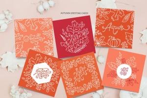 秋季花卉元素手绘线条画矢量插画素材 Monoline vector autumn floral elements插图6