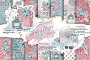 水彩花卉无缝图案设计素材 Boss Girl digital paper pack插图1
