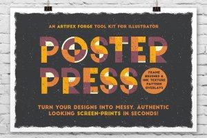 创意海报印刷效果AI笔刷 Poster Press – Screen-Print Creator插图1