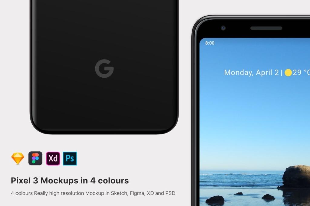 Google Pixel 3安卓手机屏幕预览样机模板 Google Pixel 3 mockup插图