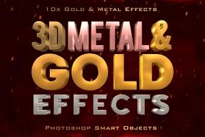 10款3D金色金属字体效果PSD分层模板 3D Metal & Gold Effects插图1