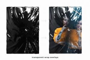 塑料伸缩膜包装效果图PSD分层模板 Plastic Foil Wrap Overlays插图3