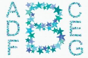 绿蓝配色26个星星字母剪贴画PNG设计素材 Greeny Blue Star Alphabet插图2