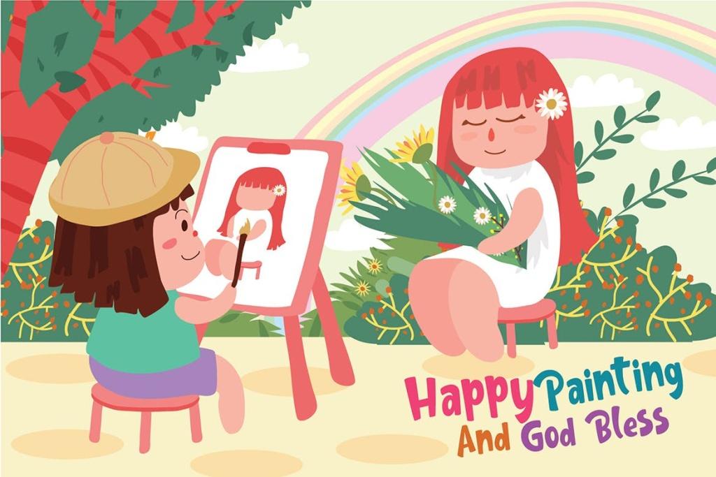 儿童绘画主题矢量插画素材 Painting – Vector Illustration插图