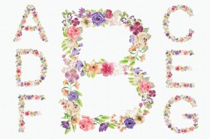 水彩手绘夏季混合花卉字母剪贴画PNG素材 Floral Alphabet: Mixed Summer Blooms插图2