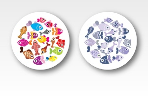 奇异鱼类矢量图形设计素材 Exotic Fish round shape vector designs插图1