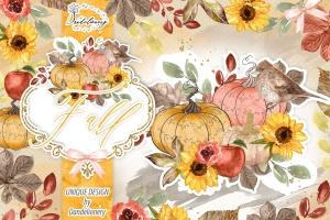 秋季南瓜水彩手绘剪贴画PNG素材 Fall Pumpkin design插图1