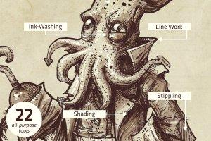 仿鱿鱼触须形状笔画Procreate笔刷 Squid Brush Pack for Procreate插图3