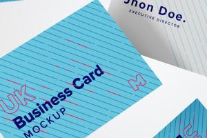英国尺寸规格企业名片设计预览样机10 UK Business Cards Mockup 10插图1
