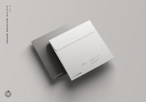 方形企业信封设计样机模板 Square Envelope Mockup插图1
