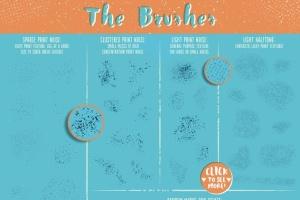 噪点/半色调/磨损效果AI画笔笔刷工具包 Light Print Texture Illustrator Brushes插图4