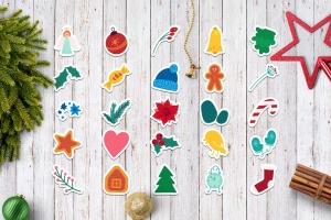 圣诞节&冬季主题贴纸图案矢量设计素材包 Christmas And Winter Stickers Set插图2