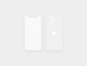 极简主义扁平设计风格iPhone 11 Pro手机样机SKETCH模板插图2