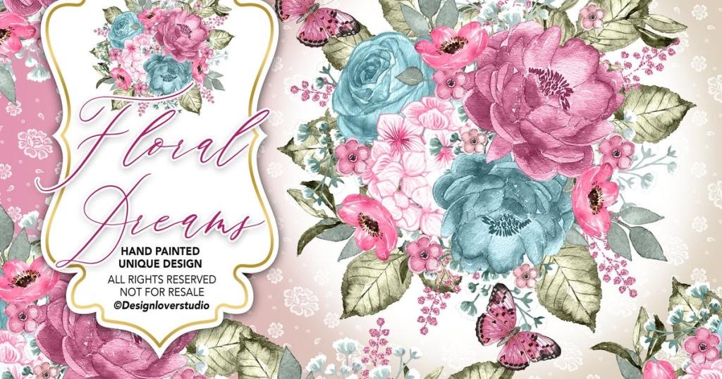 粉红水彩花卉婚礼剪贴画设计素材 Floral Dreams design插图
