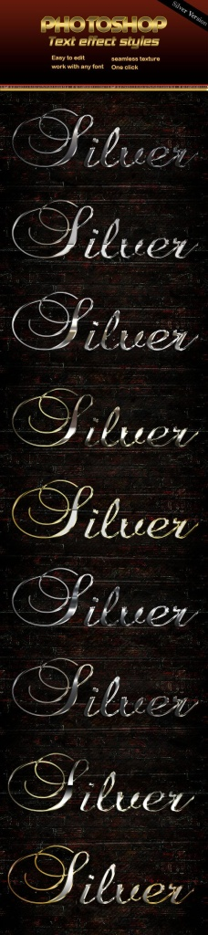 时尚金属质感3D立体文字P字体样式 Silver Text Effect插图