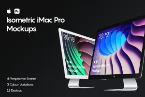 iMac一体机网站设计效果图预览样机素材v1 Isometric iMac Pro Mockup插图1