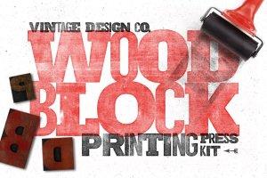 木版印刷图层样式设计工具包 WoodBlock Printing Press Kit插图1