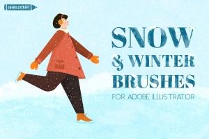 冬天雪景数码绘画AI画笔笔刷 Snow and Winter Brushes for Adobe Illustrator插图1