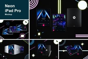 iPad Pro第三方设计屏幕预览样机模板 Neon iPad Pro Mockup插图1