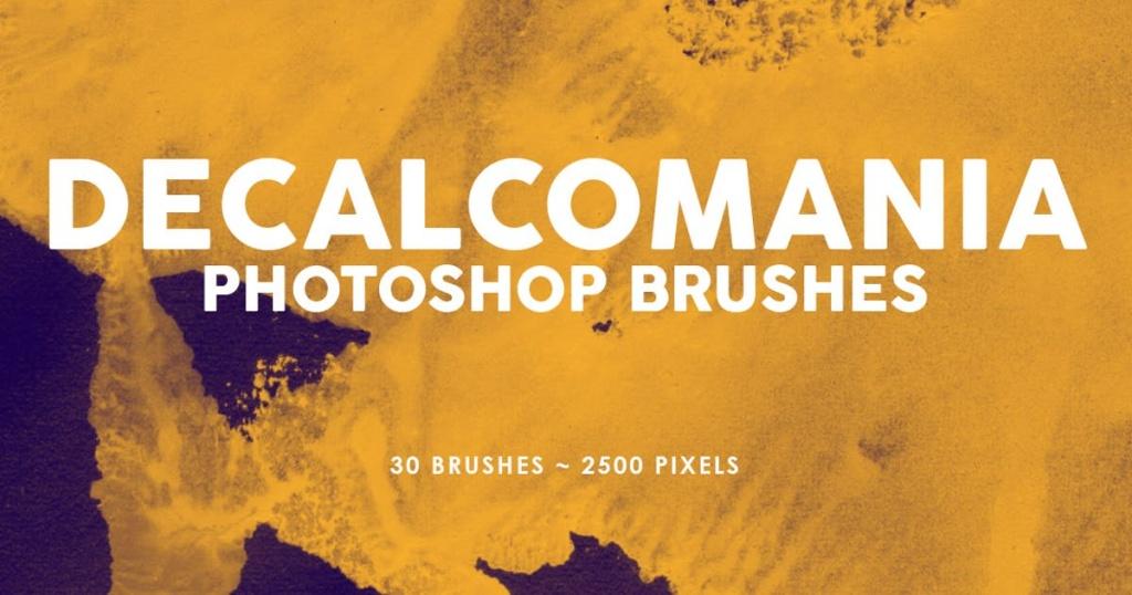 30个油漆肌理纹理PS印章笔刷 30 Decalcomania Photoshop Stamp Brushes插图