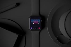 时尚深色Apple智能手表样机模板 Dark Apple watch插图3