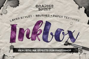 手绘水墨绘画风格PS图层样式 Photoshop Ink Drawing Effect插图1