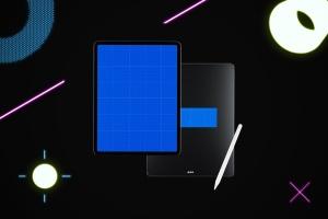 iPad Pro第三方设计屏幕预览样机模板 Neon iPad Pro Mockup插图8