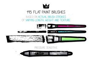 扁平笔头绘画笔画AI笔刷 AI flat paint brushes插图2