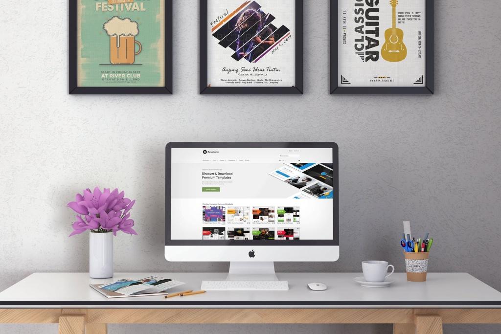 iMac一体机办公桌场景样机模板v1 iMac Desktop Mockup vol. 01插图