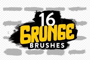 16款画笔图案PS笔刷 16 Grunge Brushes插图1