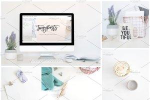 家庭办公场景样机模板 Styled Stock + Computer Mockup PSD插图1
