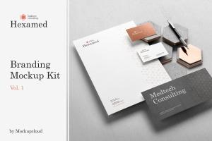 六边形图形设计品牌VI视觉设计效果图样机套件v1 Hexamed Branding Mockup插图1
