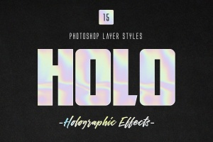 全息彩色渐变镭射纹理PS字体样式 Holographic Photoshop Layer Styles插图1