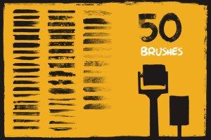 中世纪辊筒印刷滚筒刷油漆效果PS笔刷 Mid-Century – Dry Paint Brushes插图5