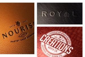 真皮材质品牌Logo设计压印效果图样机模板 Leather Branding logo mockups插图2