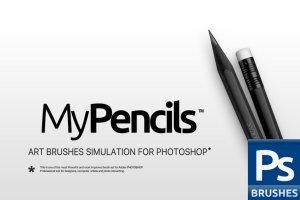 素描炭笔类手绘笔画铅笔笔刷 RM My Pencils插图1