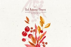 秋天红色水彩手绘花卉剪贴画PNG素材 Red Autumn Flowers插图2