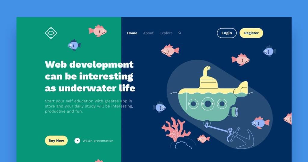 网站着陆页设计潜艇手绘场景插画素材 Submarine Landing Page Illustrations插图