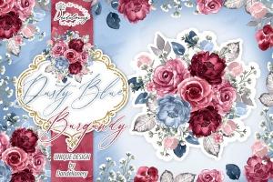 勃艮第红&蓝色水彩手绘花卉PNG素材 Watercolor Dusty Blue and Burgundy design插图1