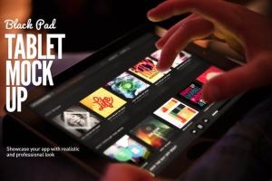 平板APP应用界面设计演示样机模板 Black iPad Tablet App UI Mock-Up插图2
