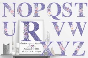 紫色梦幻水彩花卉图案设计素材包 Purple Dreams Watercolor Design Set插图9