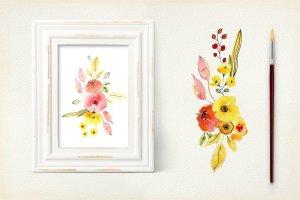 手工制作的水彩花朵花卉  Vibrant Colors Flowers插图4