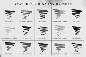 水墨/毛笔/墨水污渍PS笔刷合集 Photoshop Ink Brushes插图5