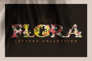 复古风格花卉字母&数字设计PNG素材 Vintage Flower Alphabet插图1