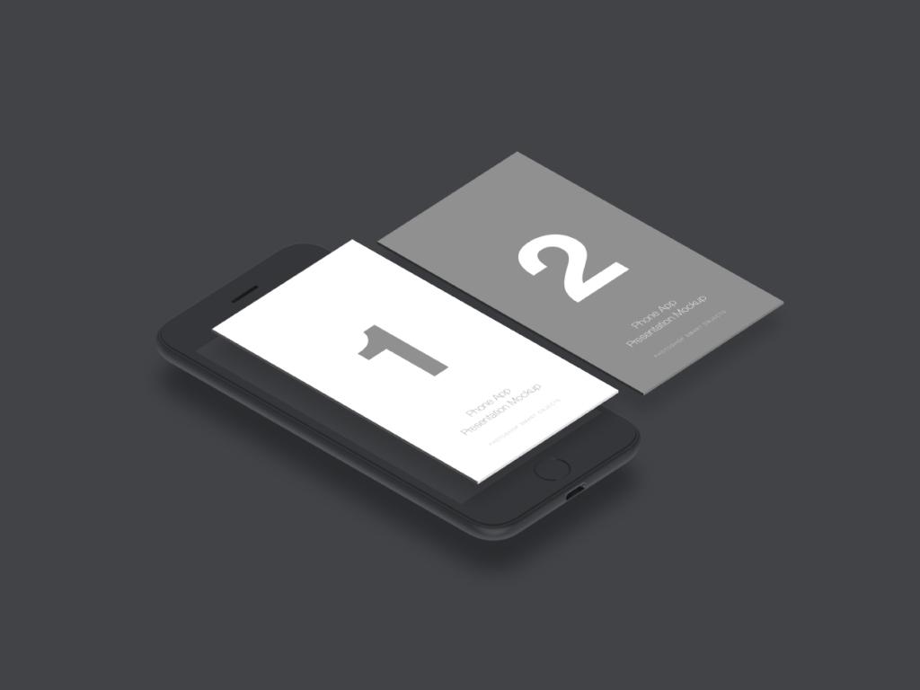 移动应用程序UI设计双屏演示样机插图