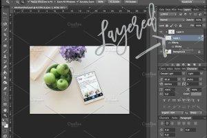厨房场景平板电脑样机模板 Kitchen Tablet Mockup | PSD included插图2