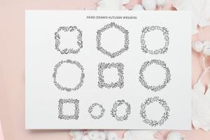 秋季花卉元素手绘线条画矢量插画素材 Monoline vector autumn floral elements插图9