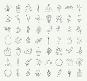 自然与植物手绘涂鸦矢量图形设计素材 Nature and Botanical Hand Drawn Doodles插图4