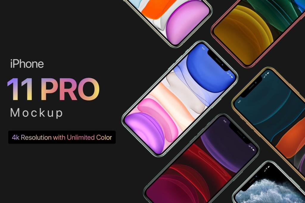 4K高清iPhone 11 Pro手机APP应用UI设计预览样机模板 iPhone 11 Pro Mockup 1.0插图